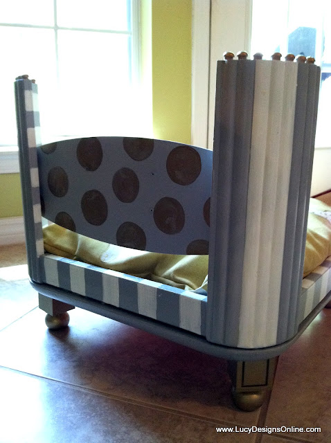 grey and white striped dog bed