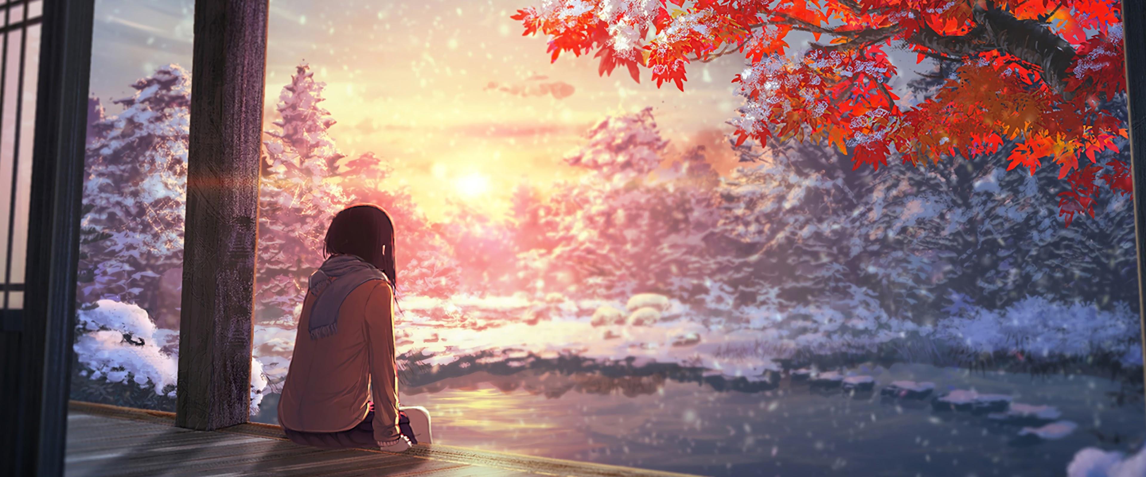 Anime Scenery Autumn Sunset 4k Wallpaper 53