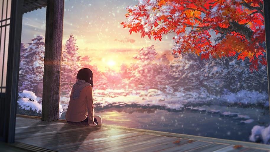 Anime, Scenery, Autumn, Sunset, 4K, 3840x2160, #53 Wallpaper