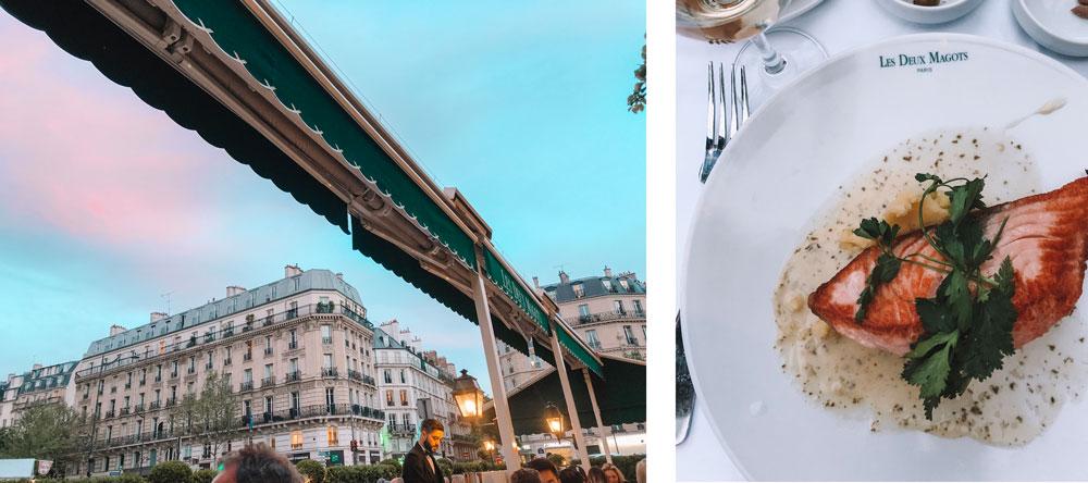 Dinner at Les Deux Magots in Paris