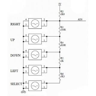 Circuito resistores - botões shield keypad