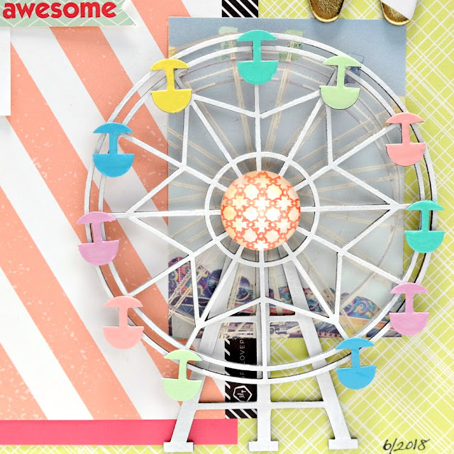 Painted and Glazed 3D Chipboard Ferris Wheel Embellishment
