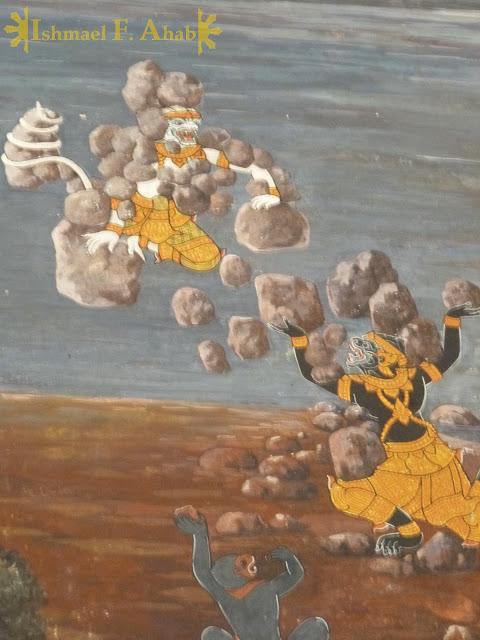 Ramakien in Bangkok Grand Palace: earth bending