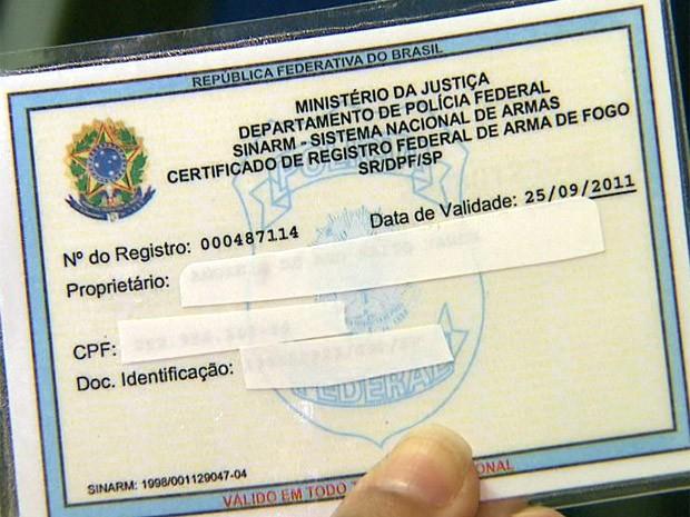 Certificado de Registro armas de fogo