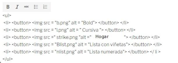 lista de enlaces creada con el editor de WordPress