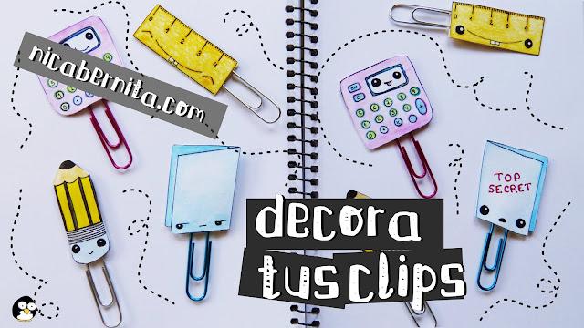 Ideas para decorar clips con dibujos de material escolar kawaii (manualdiades para el regreso a clases) Nicabernita.com