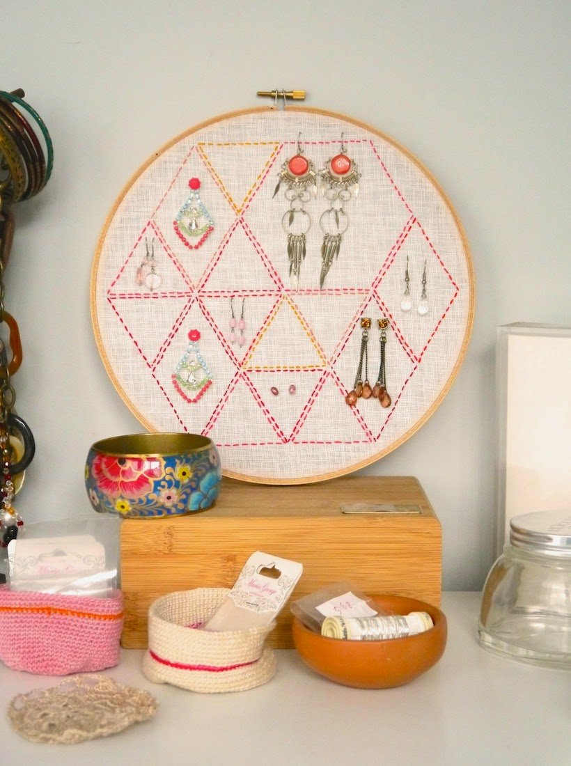 free tutorial using some basic stitching and an embroidery hoop to create a unique and personalised earring holder, from Sarita Creative