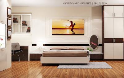 Phòng ngủ được trang trí bằng nội thất MFC cao cấp