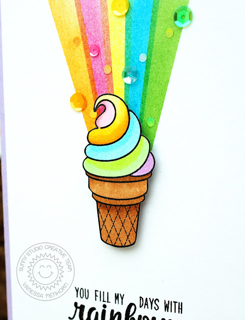 Sunny Studio Stamps: Sun Ray and Color Me Happy Rainbow Card by Vanessa Menhorn