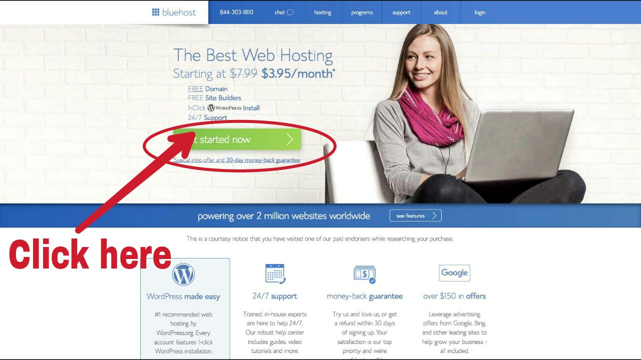 Click here, go to bluehost and start your blog