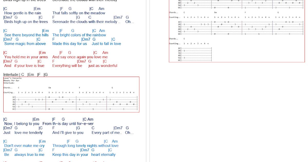 TalkingChord.com: 陈慧琳- Lover\'s Concerto (吉他谱Chords)