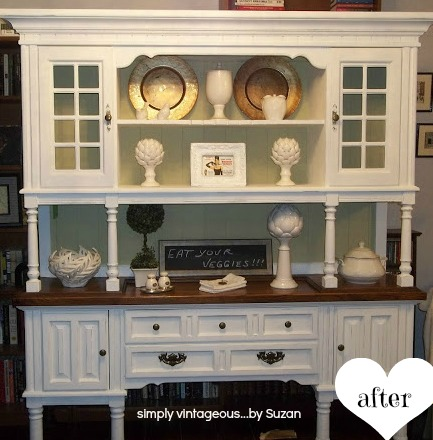 Before and After Hutch makeover - Pure White ( Annie Sloan Chalk Paint )