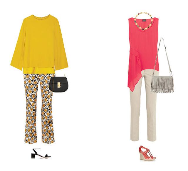 Желтые брюки с желтым топом и розовый топ с розовыми босоножками