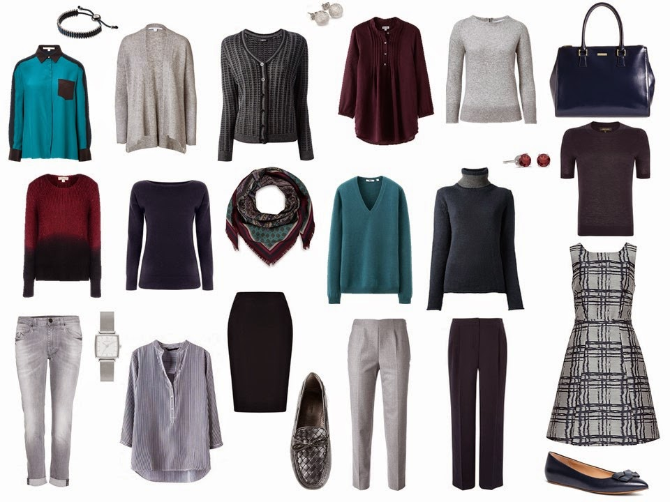 A Four By Four Capsule Wardrobe In Navy Grey Teal And Burgundy The Vivienne Files