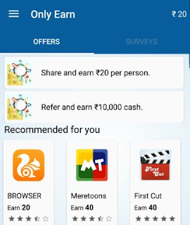 ONLY EARN APP RS 20. PER