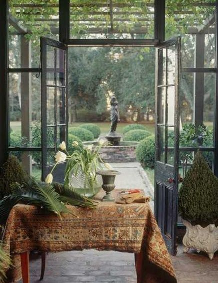 Deck enclosure - Orangerie Inspiration - Design by Laurie Steichen as seen on linenandlavender.net  http://www.linenandlavender.net/2013/08/a-summer-update-from-leann.html