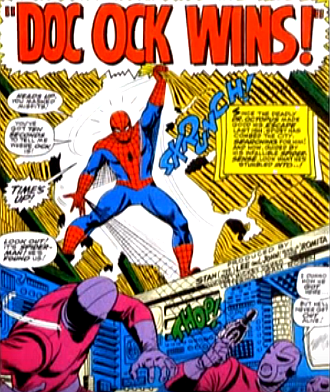 Amazing Spider-Man #55, john romita, spider-man tears the roof away from the hideout of Docro Octopus's henchamen