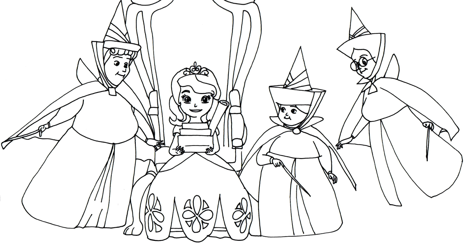 sofia the first coloring page with headmistresses fauna flora and merryweather