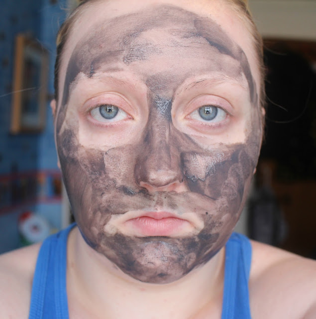Photograph of the Avon Black Mineral Mask Directly after Applying