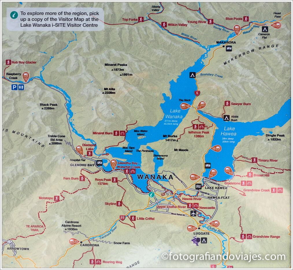 Plano lagos Wanaka y Hawea