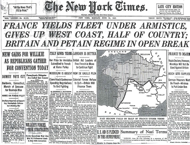 24 June 1940 worldwartwo.filminspector.com New York Times front page
