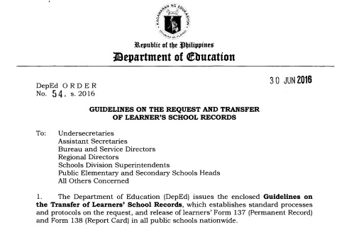 Guidelines On The Request And Transfer Of Learner'S School Records
