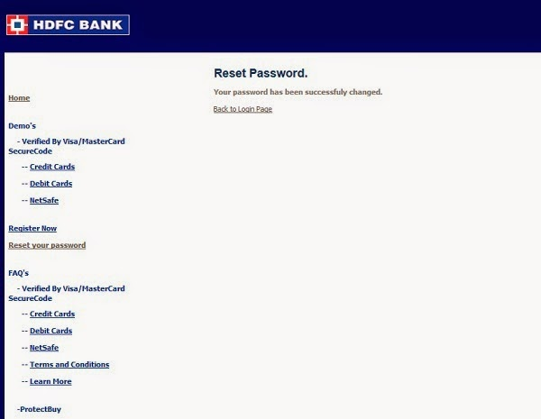 Hdfc forex card password reset