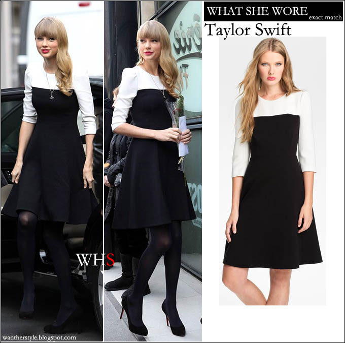 What She Wore Taylor Swift In Black And White Colorblock Flare Dress Paris I Want Her Style Celebrities Where To It