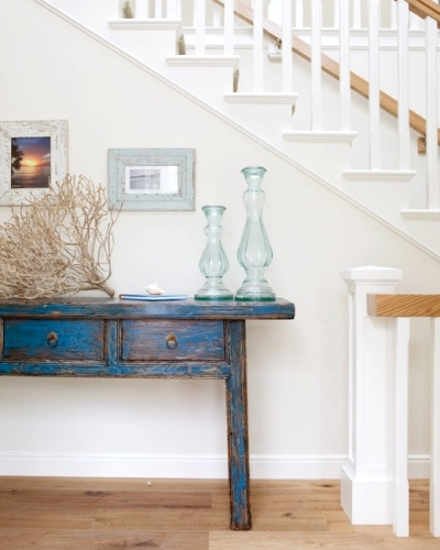 distressed blue painted table