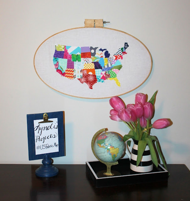 US Map in Embroidery Hoop