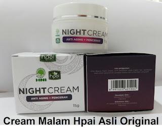 Khasiat night cream hpai Asli krim malam herbal yg bagus alami