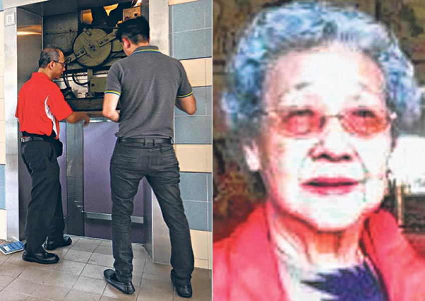 Khoo Bee Hua's left hand was severed when the 85-year-old tried to stop the lift door from closing.