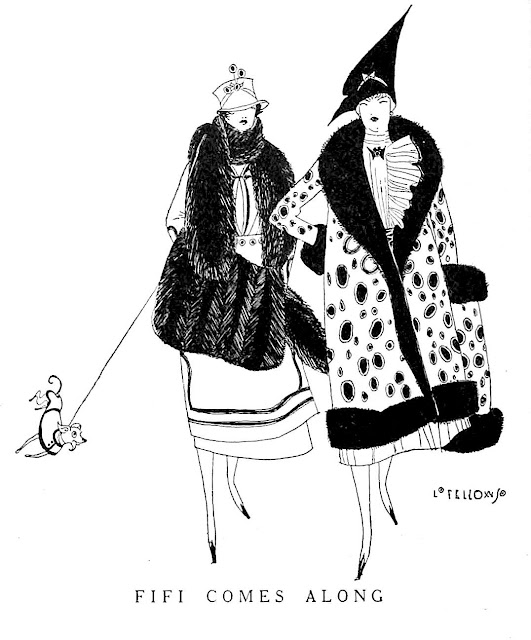 1914 cartoon women walking tiny dog