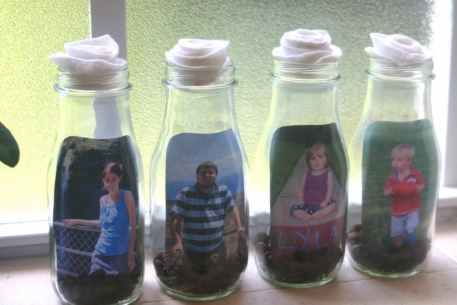 Glass bottle picture frames lines across for Diy crafts with glass jars and bottles
