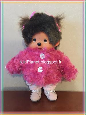 manteau en fourrure rose fait main pour kiki ou Monchhichi, handmade, couture, poupée, tous, vintage