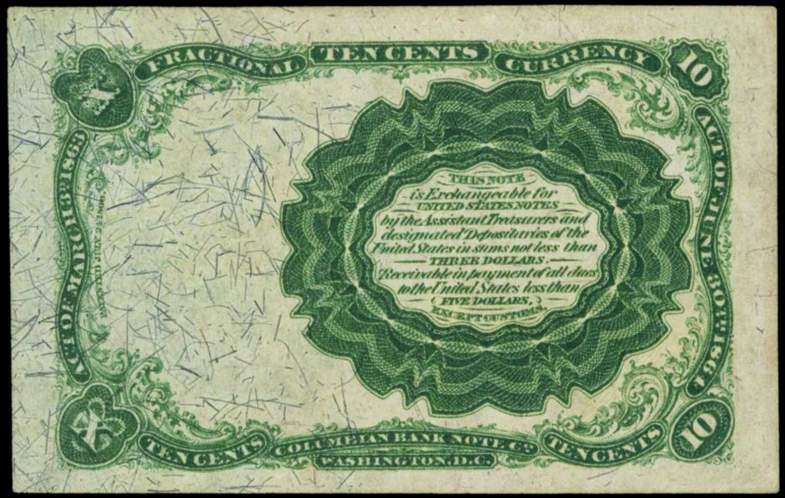 1874 Ten Cents Fractional Currency