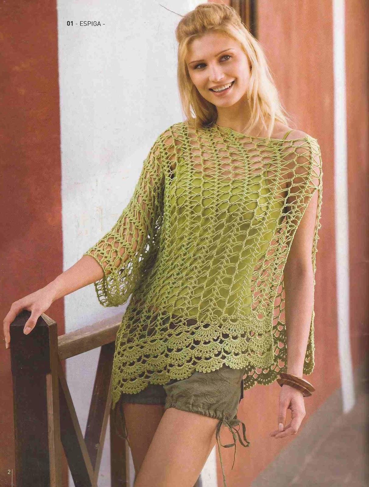 Blusa Calada Verde a Crochet o Ganchillo