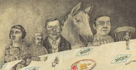 Cheval à table, une des oeuvres exposées