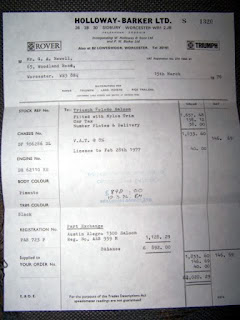 Holloway Barker Ltd invoice dated 15 March 1976