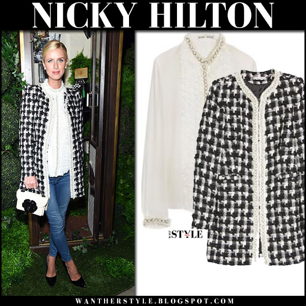 Nicky Hilton in black and white houndstooth jacket, ruffled blouse, skinny jeans and black pumps at New York Fashion Week 2017 alice olivia