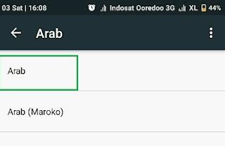 Pilihan bahasa Arab