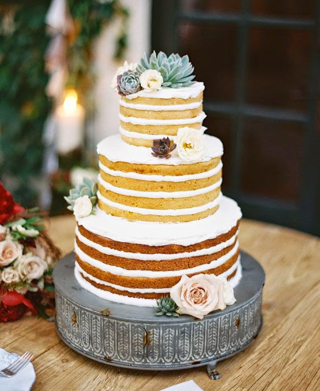 Naked Cake With Flowers And Lace Single Tier