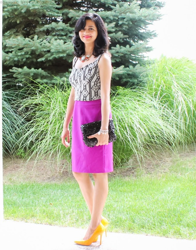 Crop Top, Pencil Skirt, Sequin Clutch, Neon Pumps, Summer 2014, Outfit Ideas, What I wore, Outfits, Indian, Fashion Blogger, Fashion, Style, Fashion Trends,