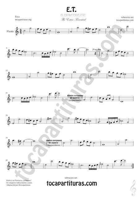 Flauta Travesera Partitura de ET Sheet Music for Flute and Recorder Music Scores
