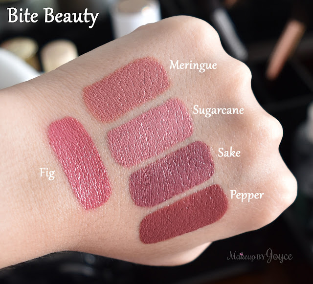 Bite Beauty Lipsticks Meringue Pepper Sugarcane Fig Sake Swatches