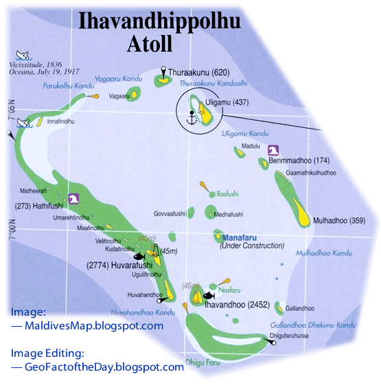 Map of the northernmost atoll in the Maldives: Ihavandhippolhu Atoll