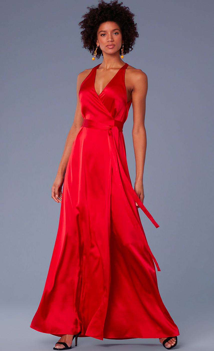 Diane Von Furstenberg Sleeveless Floor-Length Satin Wrap Dress