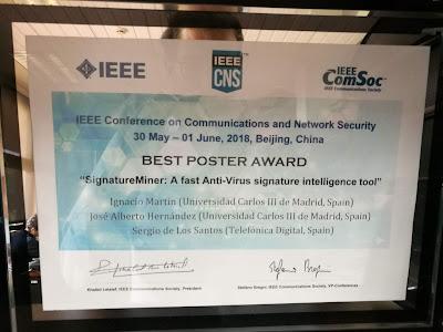 Premio al mejor póster en la IEEE CNS de Pekín 2018 imagen