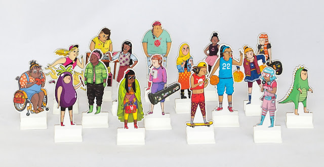 A series of character tokens representing girls of all backgrounds and types, including disabled characters, girls of color, athletes, musicians, and more! Very colorful!