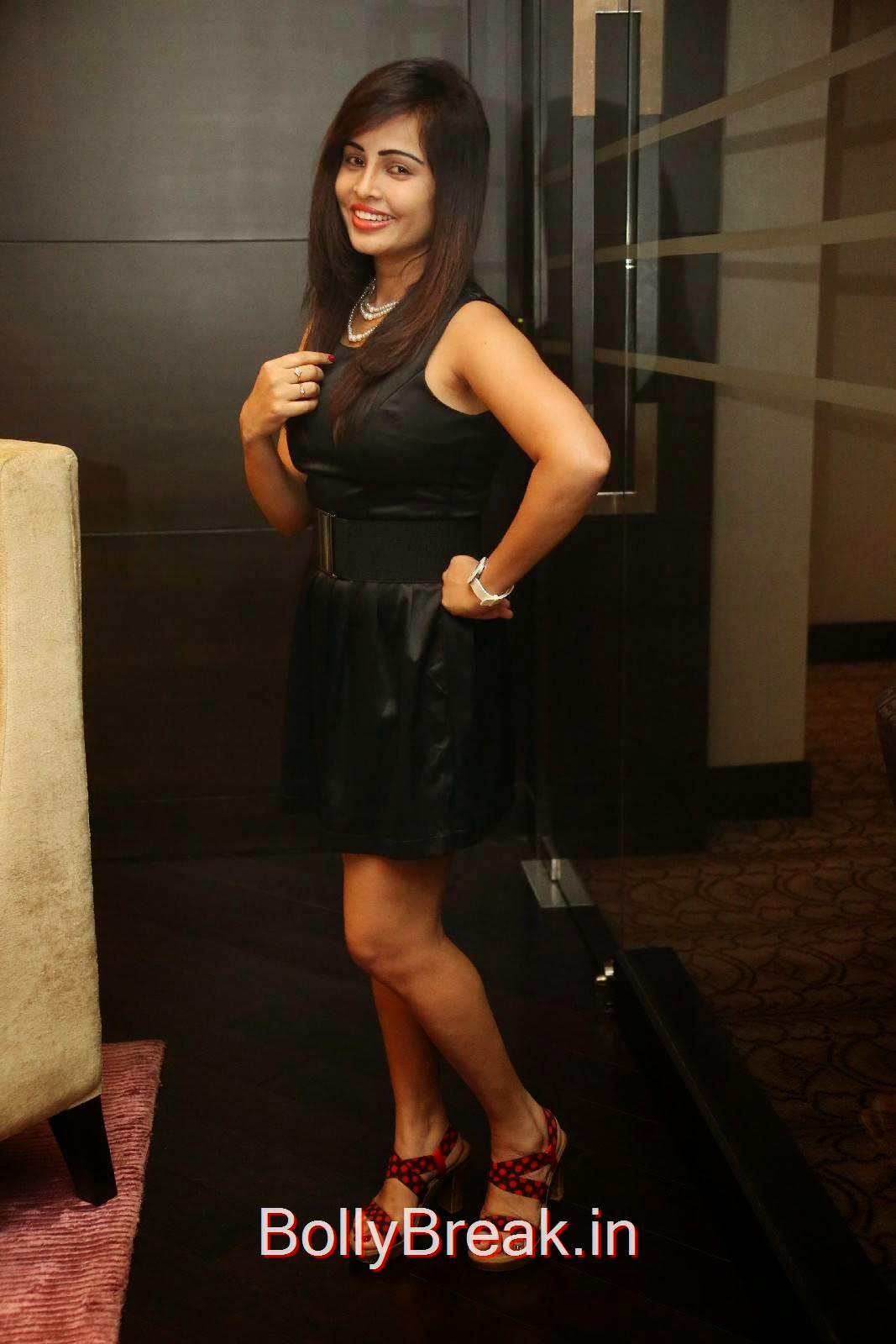 Hashika Dutt Pics At Player Teaser Launch, Hashika Dutt Hot Pics In Black Dress from Player Trailer Launch